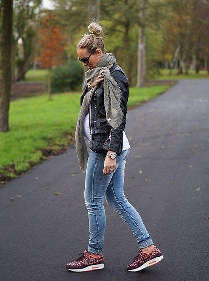 H&M Leather Jacket, G Star Skinny Jeans, Nike X Liberty Burgundy Belmont
