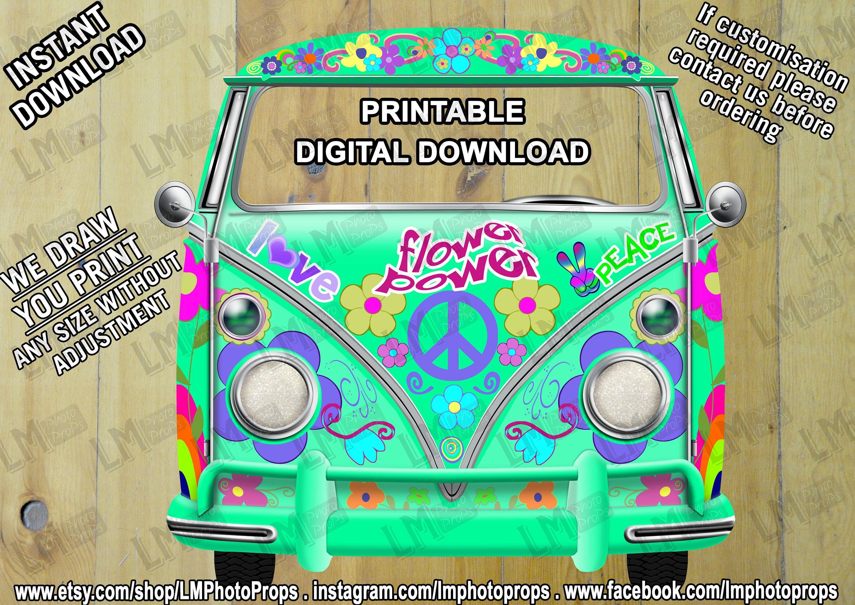 5024d90001173 Flower Power Campervan File, Camper Van File, Woodstock, Retro ...