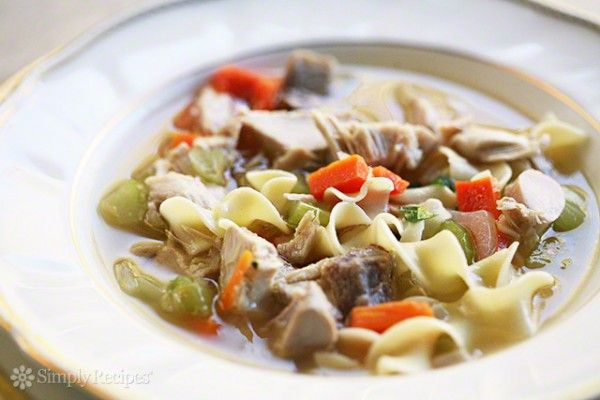 Classic turkey soup recipe.  Every Thanksgiving my mother takes what's left of the turkey carcass and makes a delicious turkey soup that we enjoy for days. ~ SimplyRecipes.com