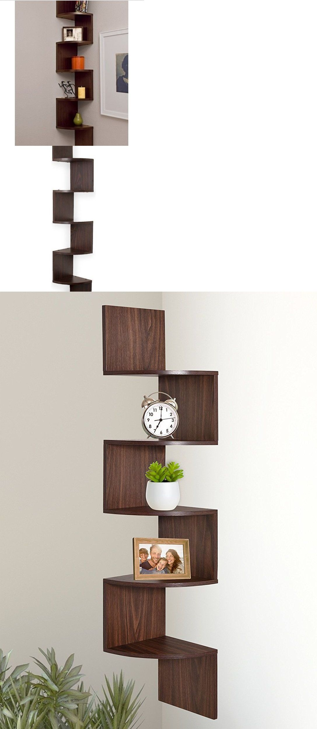 Bookcases 3199 Corner Hanging Shelf Storage Walnut Tall Wall