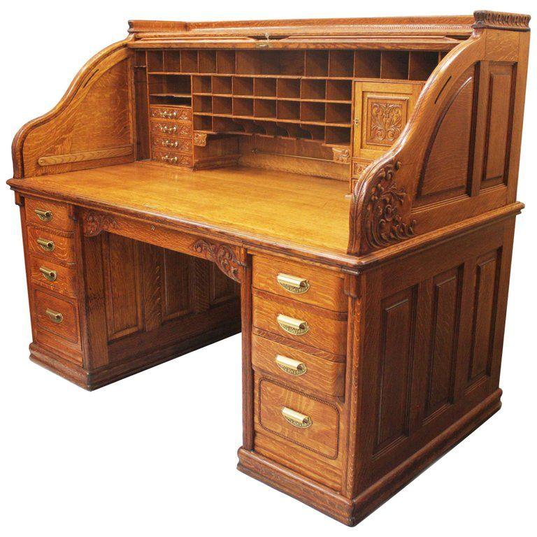 Spectacular 19th Century Oak Roll Top Desk By A Petersen Co Of Chicago Mobilier De Salon Coing Bureau