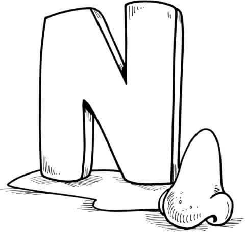 Letter N Is For Nose Coloring Page Alphabet Coloring Pages Letter N Letters For Kids