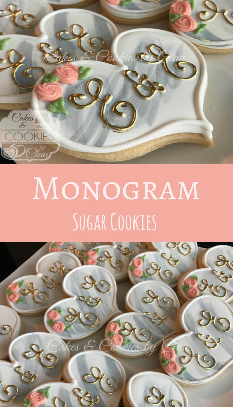 Monogram Wedding Engagment Bridal Shower Hand Decorated Cookies ...