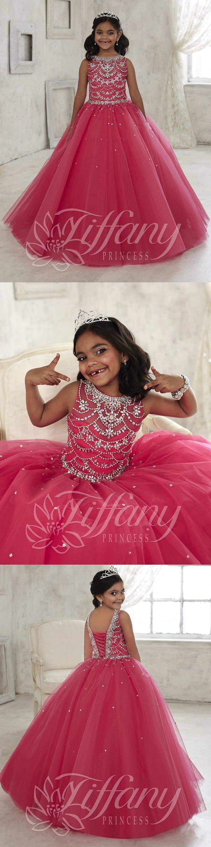 New arrival hot pink beaded crystal pageant dresses for little