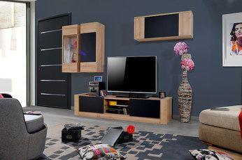Ensemble Meuble Tv Moderne Couleur Chene Clair Et Noir Mat Elise Mobilier De Salon Ensemble Meuble Tv Meuble Tv