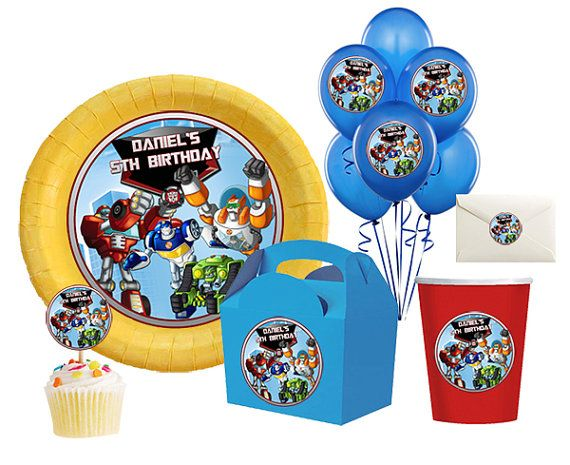 DIY Printable Rescue Bots Birthday Party Balloon Toppers Circle Stickers Kisses