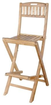 Altavista Slat Back Folding Bar Stool Unfinished