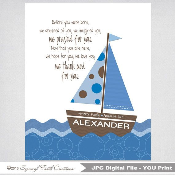 Sailboat PRINTABLE Scripture Art Personalized With Boys Name And Bible Verse.  Adoption, Christening, Baby, Shower Gift. Digital File.