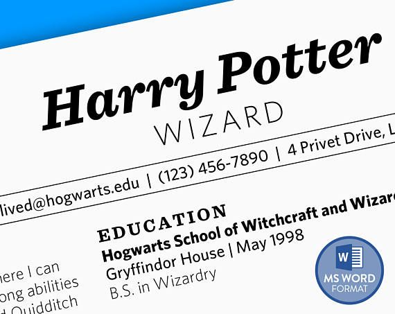 Harry Potter Has A Resume This Modern And Downloadable Resume