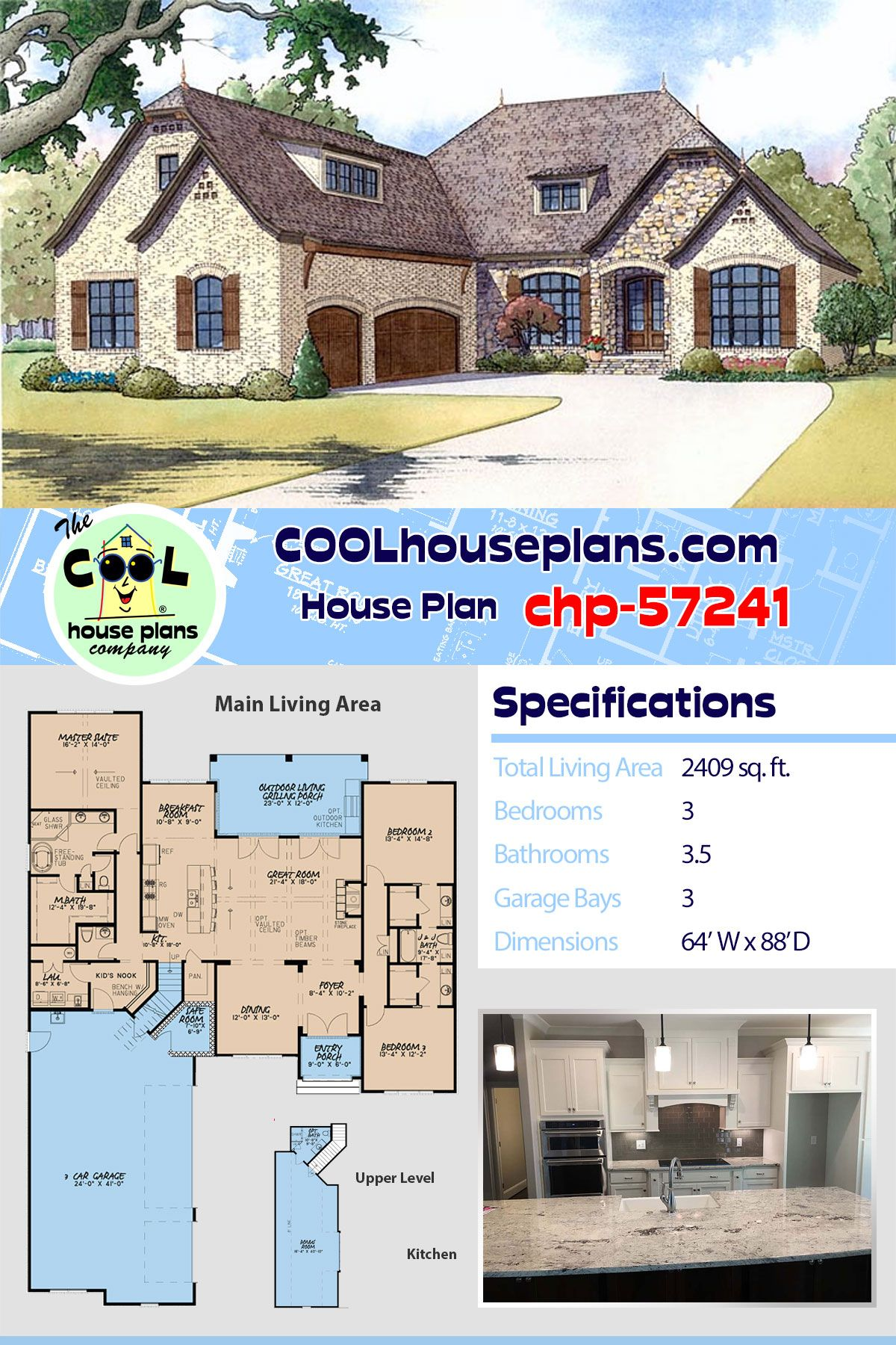 French Country Style House Plan 82419 With 3 Bed 4 Bath 3 Car Garage Country Style House Plans Best House Plans House Plans