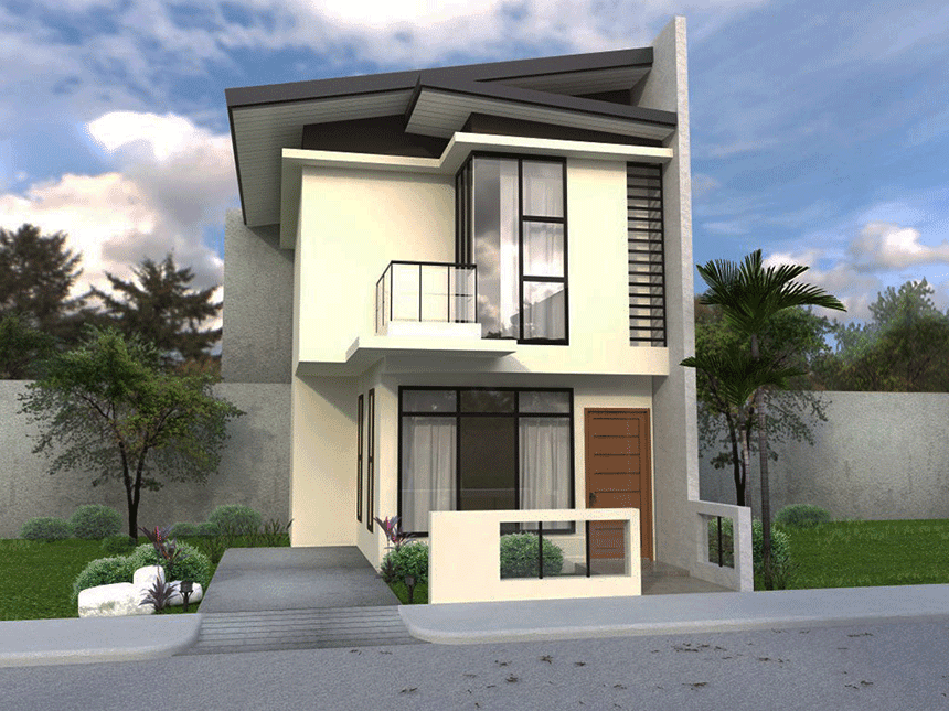 2 Story Houses With Narrow Space Narrow Lot And Narrow House Design 281 29 Png 860 645 Pixels Two Story House Design Beautiful House Plans House Design Photos