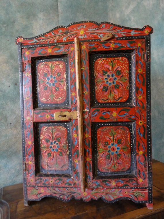Primitive Vintage Red Wood Hand Painted Folk Art by MERMAIDSNET, $199.00