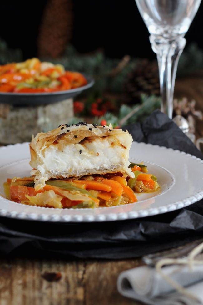 Papillot De Merluza En Pasta Brick Con Verduras Mi Gran Diversion Verduras Mariscos Pescados Y Mariscos