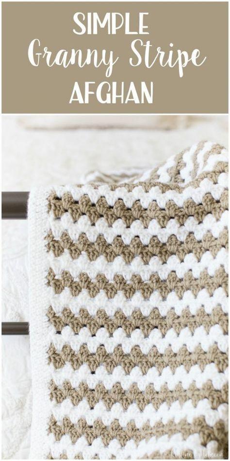 Simple Granny Stripe Afghan | Manta, Bebé y Tejido