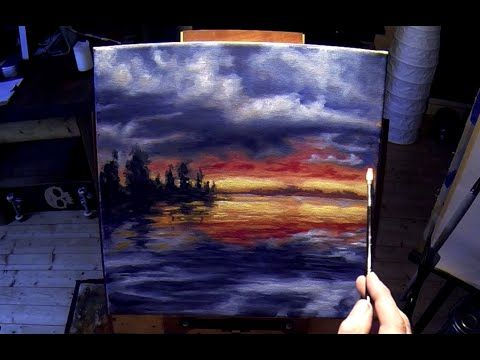 How To Paint A Lake At Sunset This Is A Free Sample Of My Acrylic