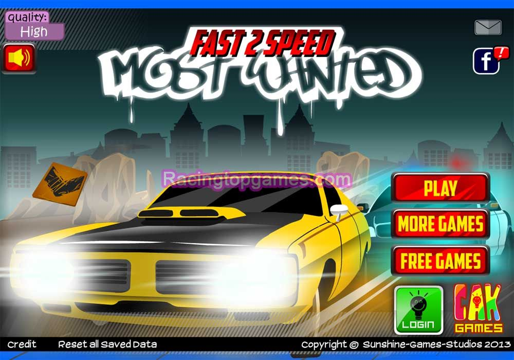 You Can Play Online Fast 2 Speed Most Wanted Car Racing Game Free At