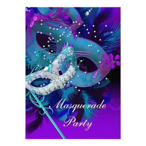 Masquerade Ball Party Teal Blue Purple Masks Invitation
