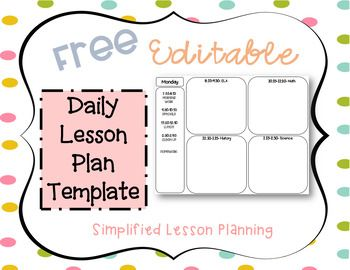 FREE Editable Daily Lesson Plan Template | Teaching | Daily lesson