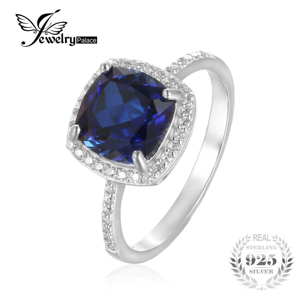 JewelryPalace Classic 3.3CT Cushion-Cut Blue Created Sapphire Wedding Engagement Anniversary Ring 925 Sterling Silver X5zy2N