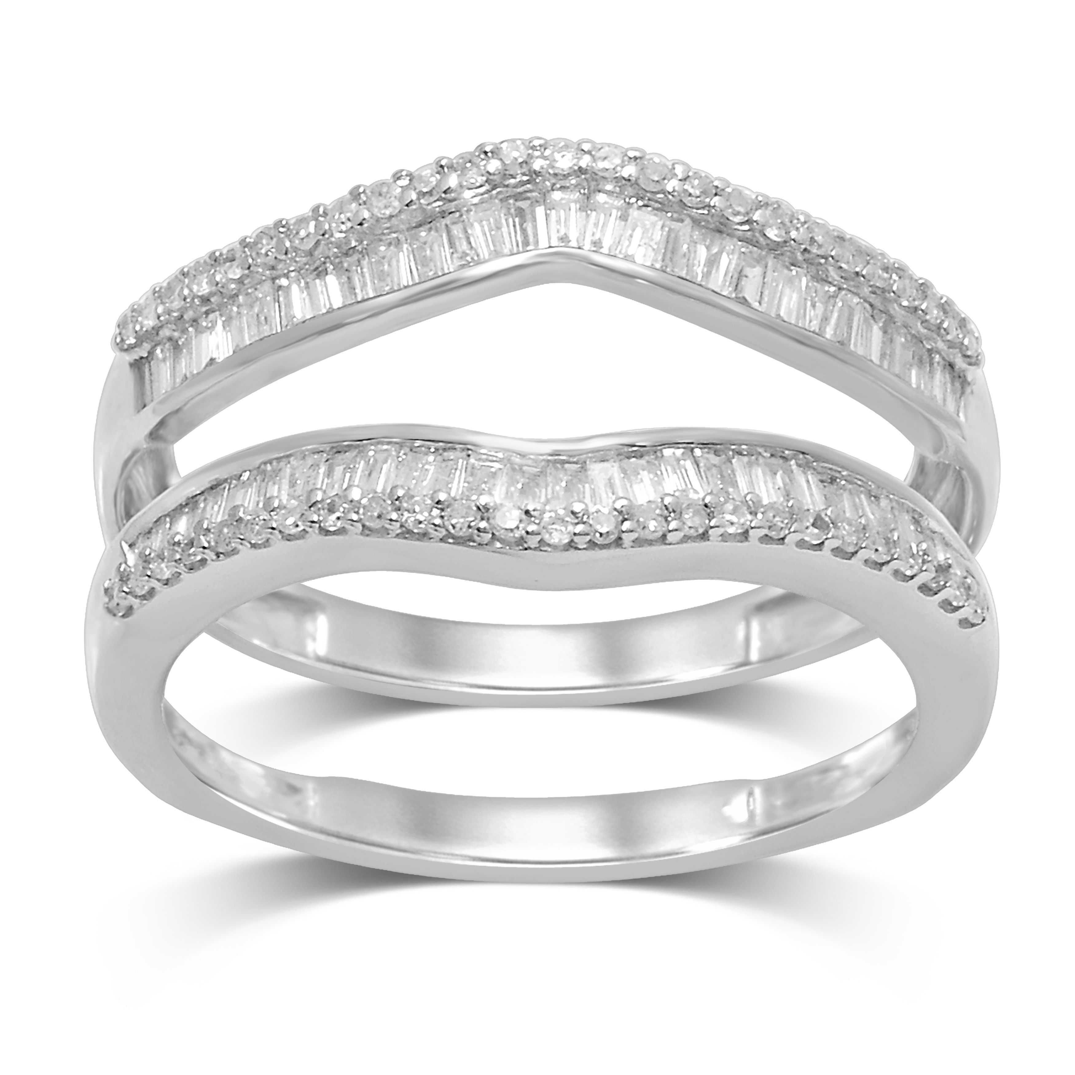 Unending Love 14k White Gold 1 2ct Tdw Round And Baguette Wrap Guard