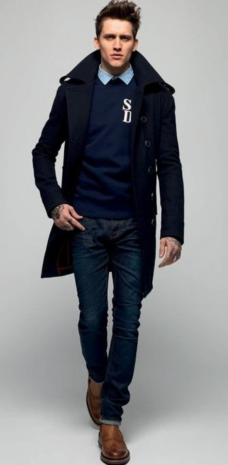 ideal school style :D navy trench coat navy sweater, and light ...
