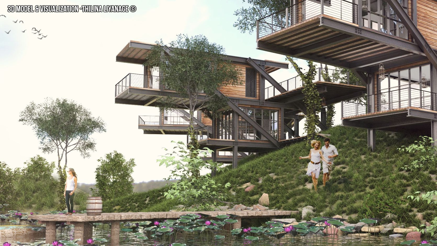 Eco Lodge 3d Scene made with sketchup vray and adobe photoshop
