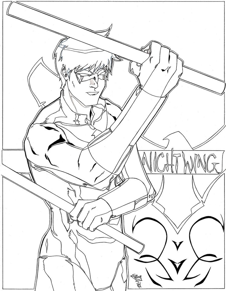 Nightwing Coloring Pages | LineArt: Batman-Family, Friends & Foes ...