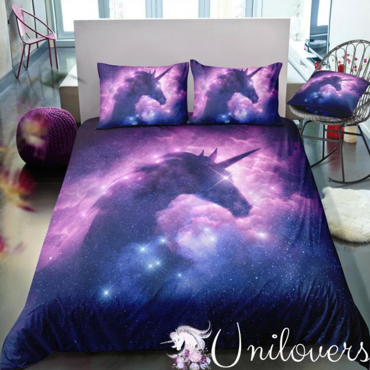 Galaxy Unicorn Bedding Set Bed linens luxury, Unicorn
