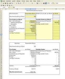 MaschinenstundensatzRechner Buchführung, Rechnungswesen