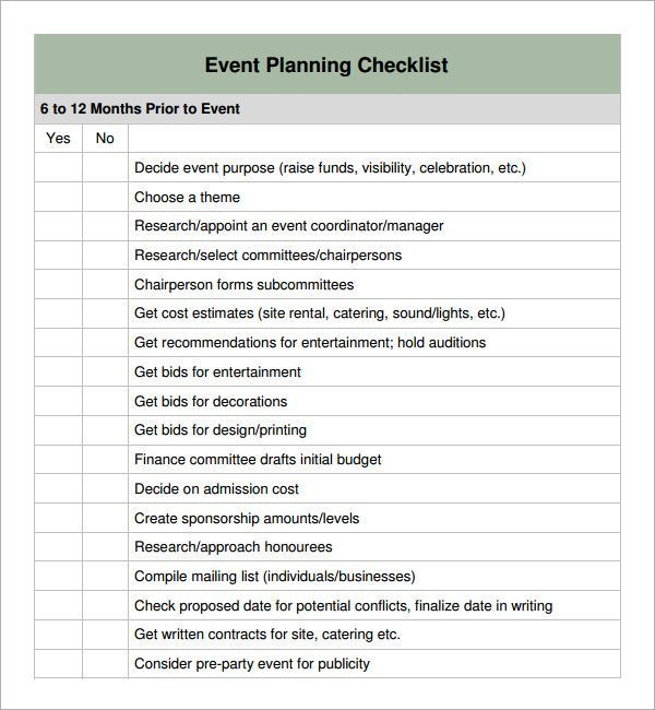 special event planning checklist Planning Checklists Pinterest - event agreement template