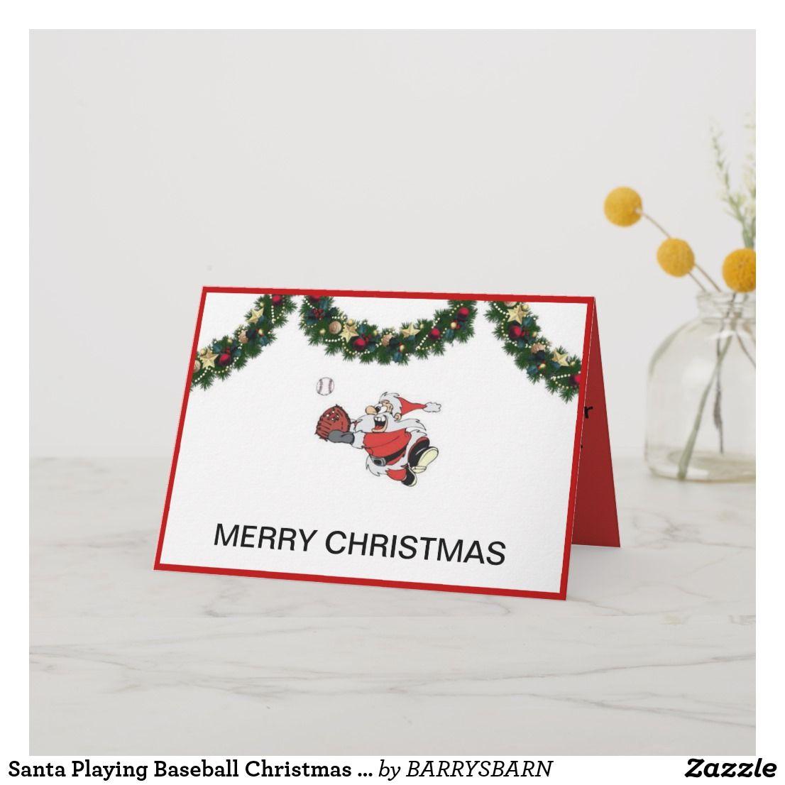 Santa Playing Baseball Christmas Card Zazzle Com Baseball Christmas Holiday Design Card Christmas Cards