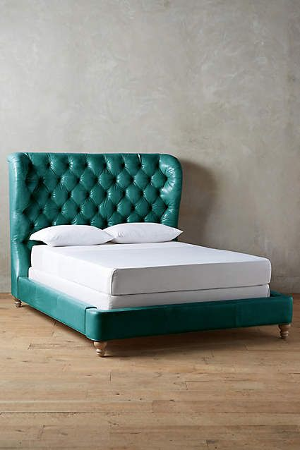 Leather Tufted Wingback Bed - anthropologie.com | Furniture | Pinterest