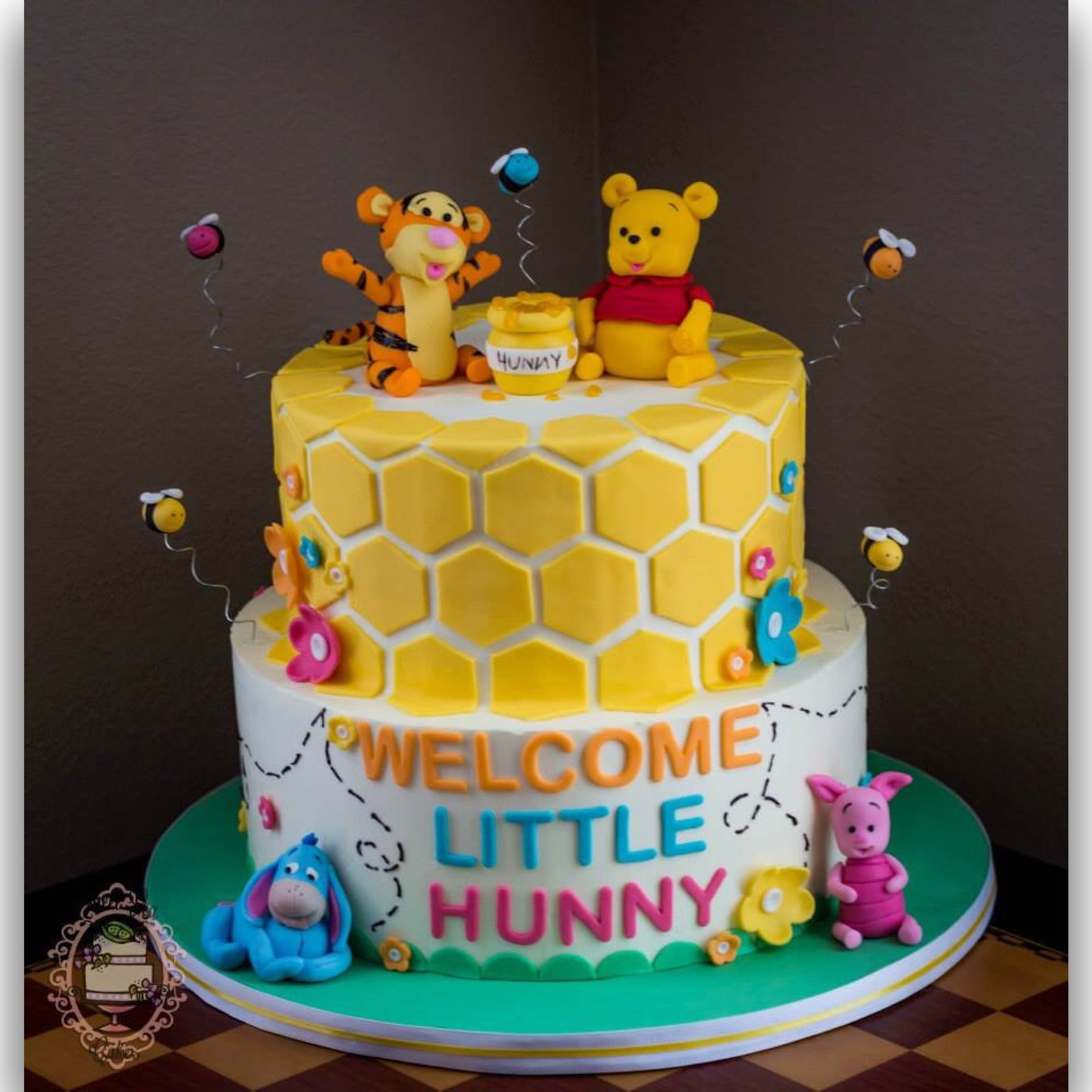 Winnie The Pooh Baby Shower Cake Buttercream With Fondant Details