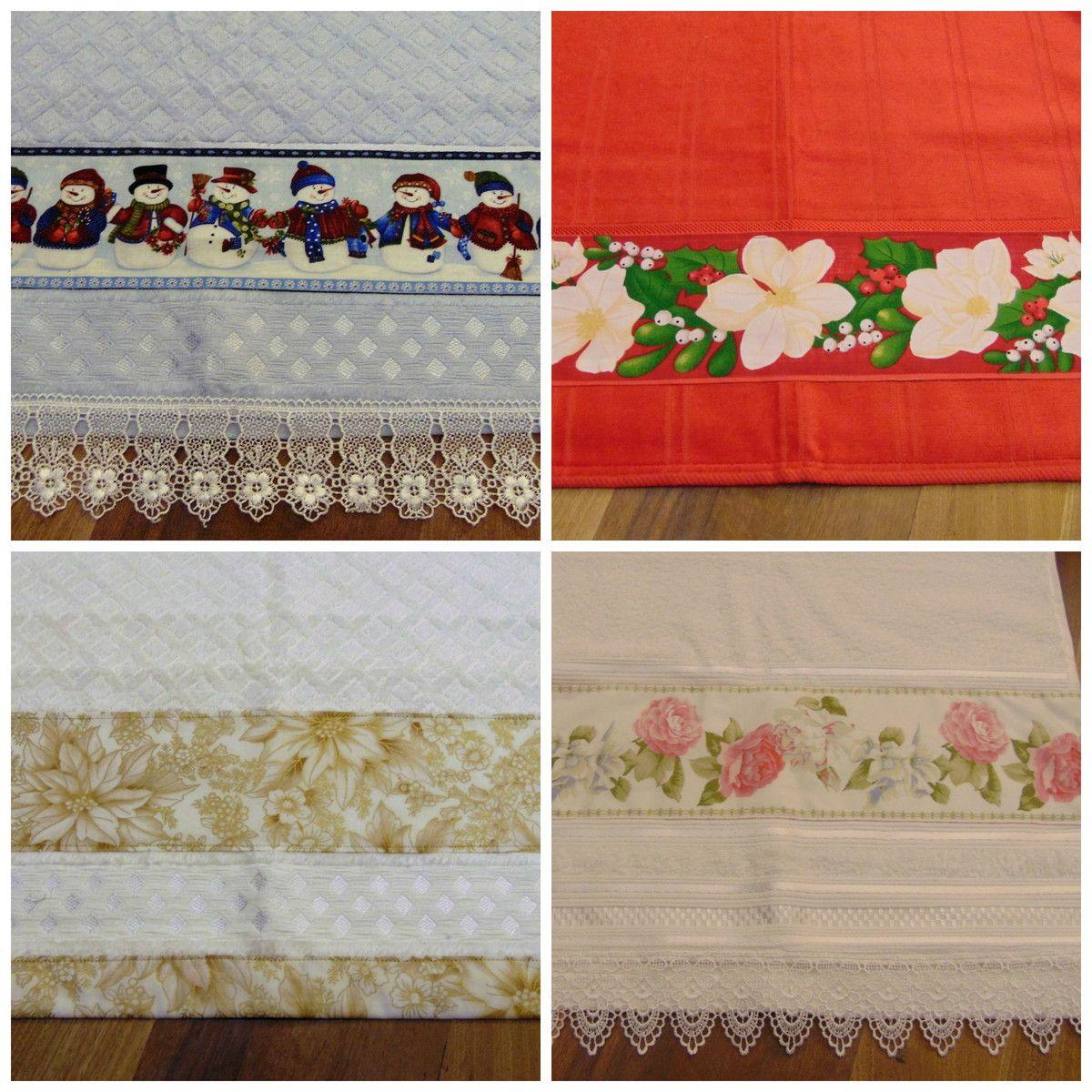 Toalhas de rosto com barrado em tricoline 100% algodão, decorada com guipper ou barra. As toalhas são marca Dohler ou similar.