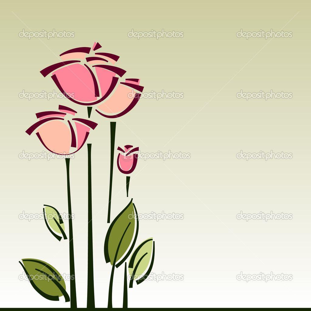 Carrello Sfondo Vettoriale Per La Progettazione Di Fiori Rose
