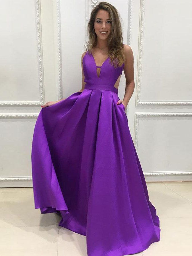 A-line prom dresses,V-neck Regency Simple Floor Length Satin ...