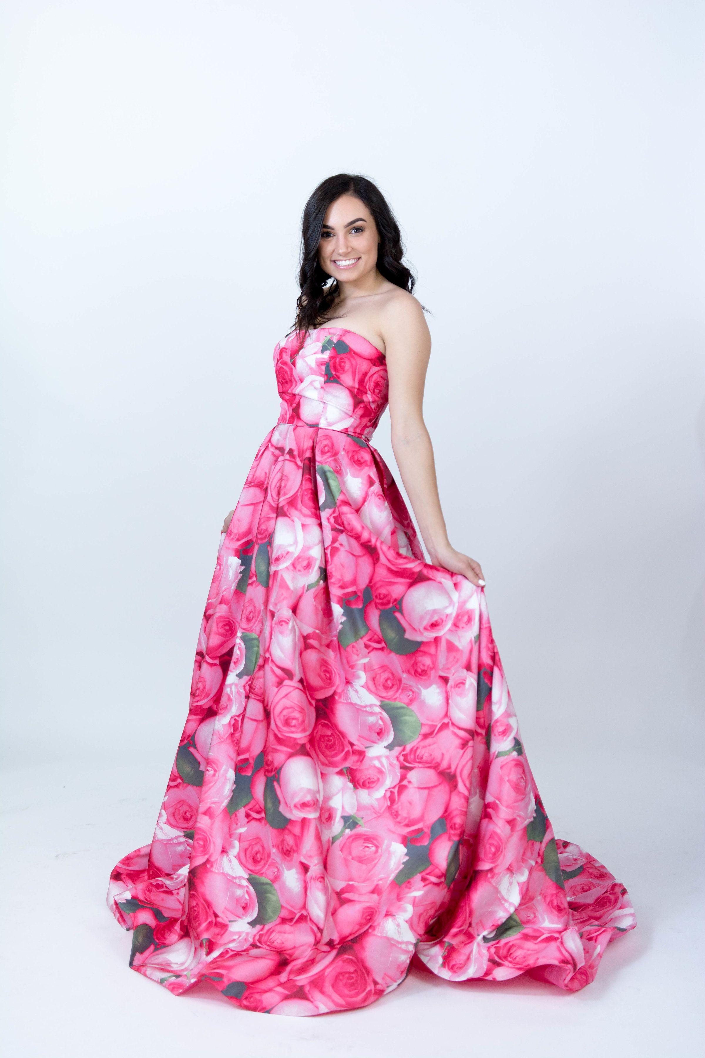 Sherri Hill Ballgown Strapless Floral Print Hot Pink Ypsilon Dresses ...