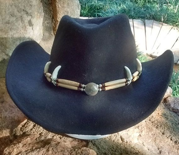 Handmade Hairpipe Hatbands W Coyote Teeth By Etowahtradingpost Cowboy Hat Band Cowboy Hats Beaded Hat Bands