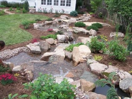 Dry riverbed landscape, wet! (With images) | Waterfalls ... on Landscaping Ideas For Wet Backyard id=50543