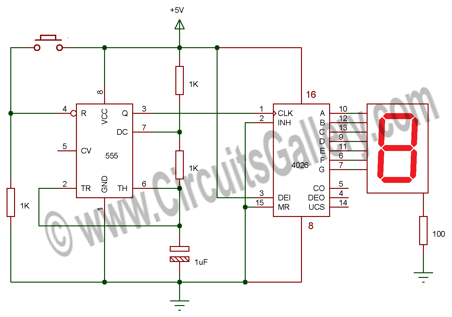 Electronic Random Number Generator Electronics Project Circuit Diagram