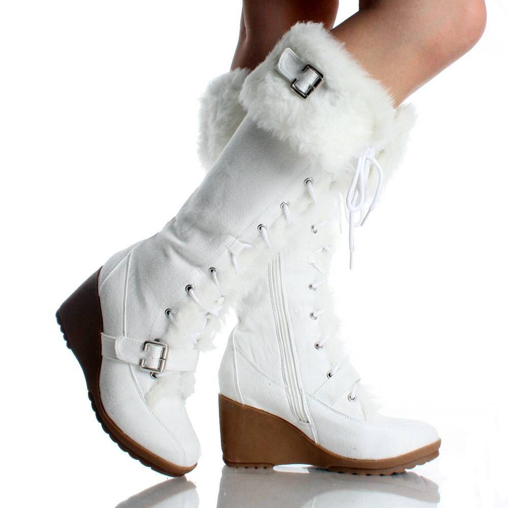 white suede fur winter lace up wedge high heel womens mid