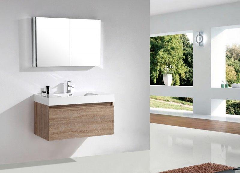 Ensemble de salle de bain A1000 couleur chêne clair - armoire de