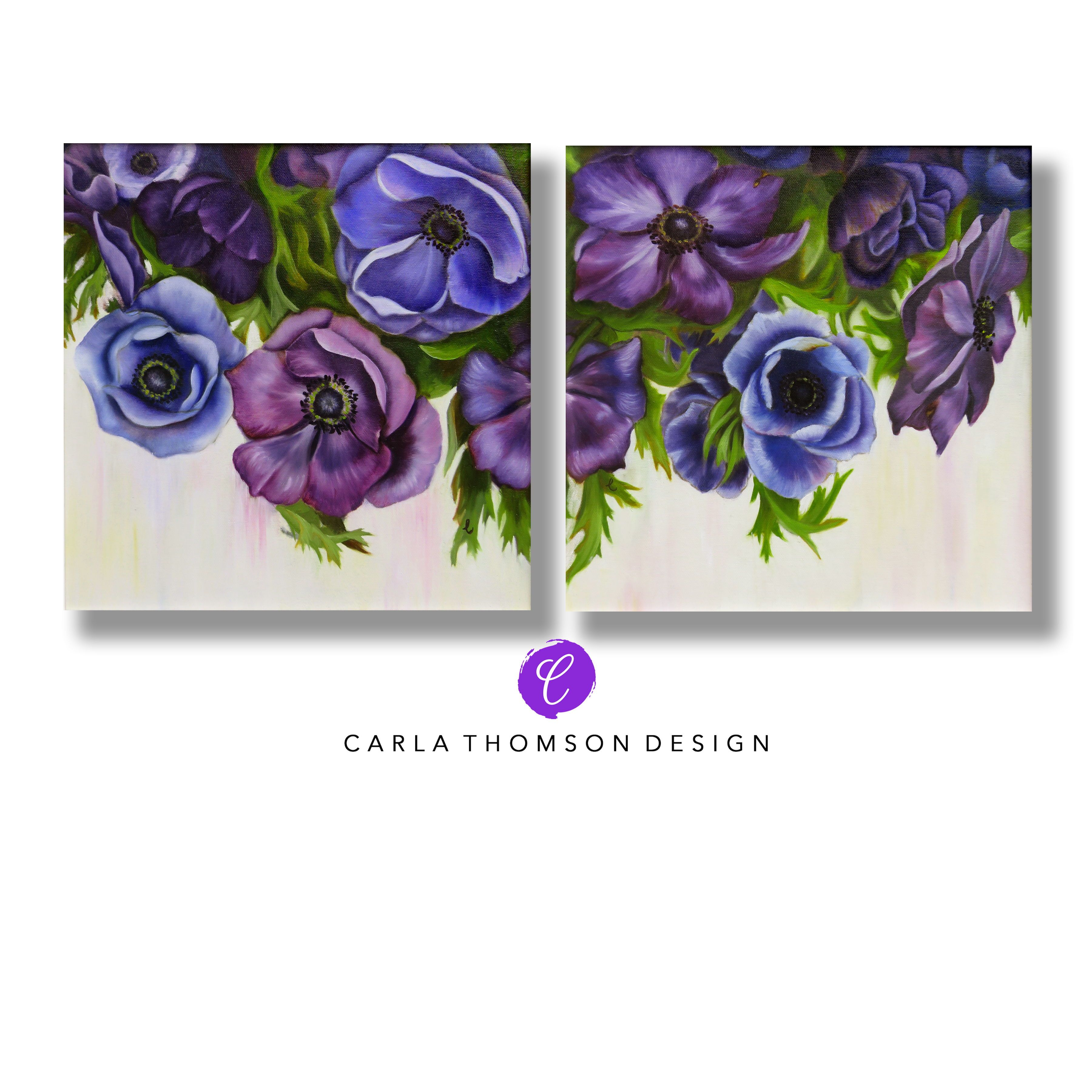 Set Of Two Original Art Oil Painting Anemone Flowers In Blue Purple White And Green On Canvas Framed Wall Art Painting Oil Original Oil Painting Canvas Frame