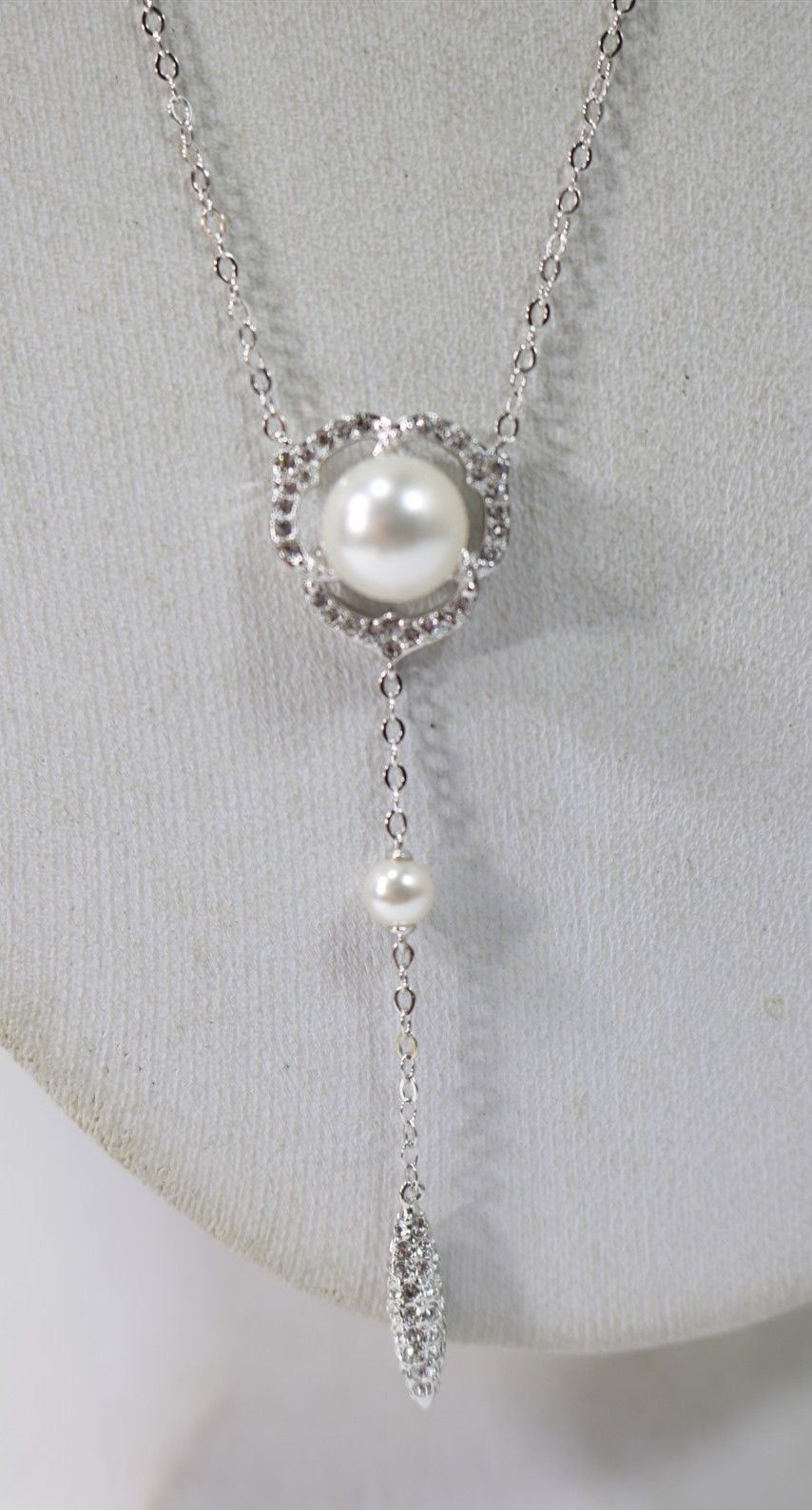 Nadri silver tone clear crystal u glass pearl necklace new