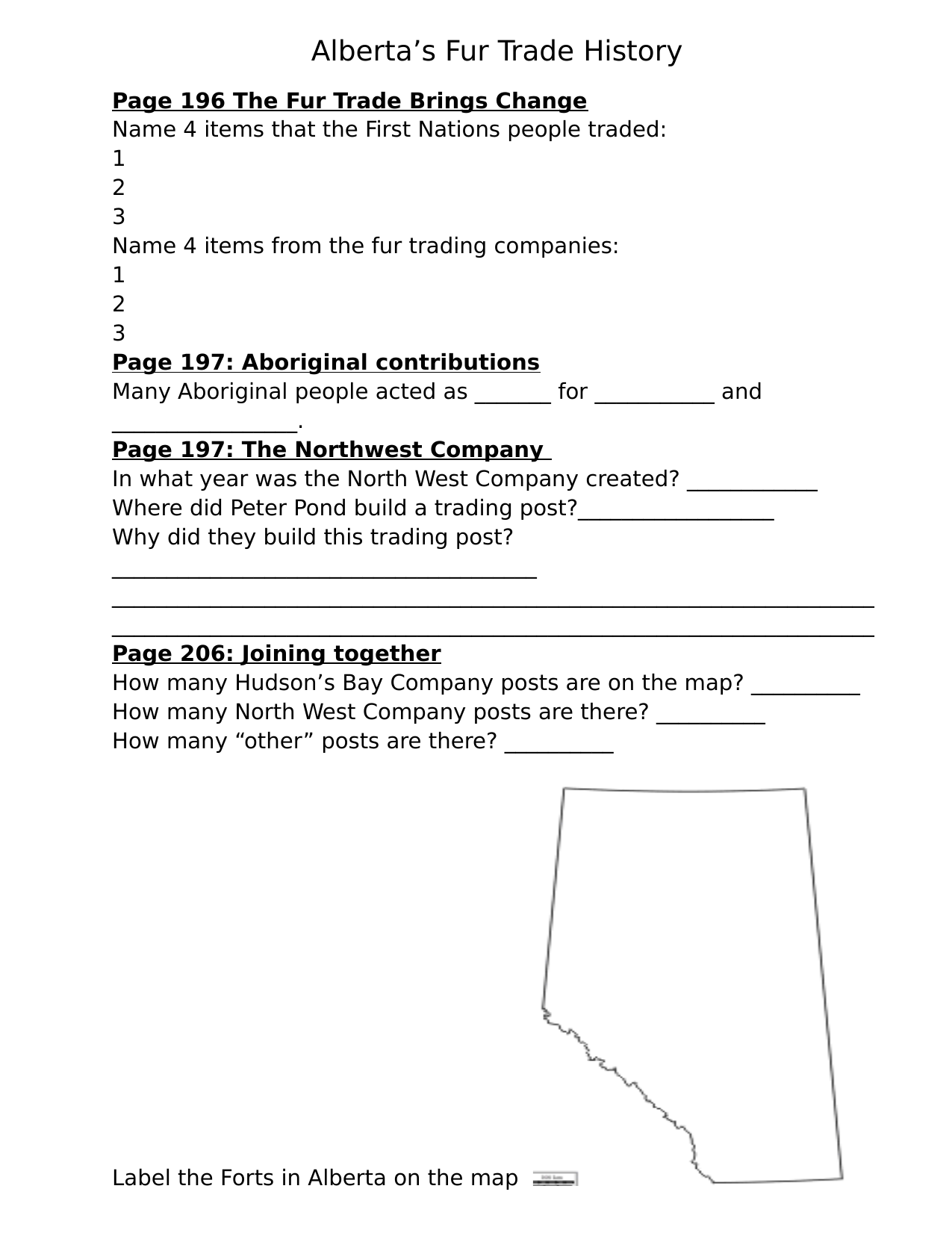 Our Alberta Textbook Fur Trade Resource Preview