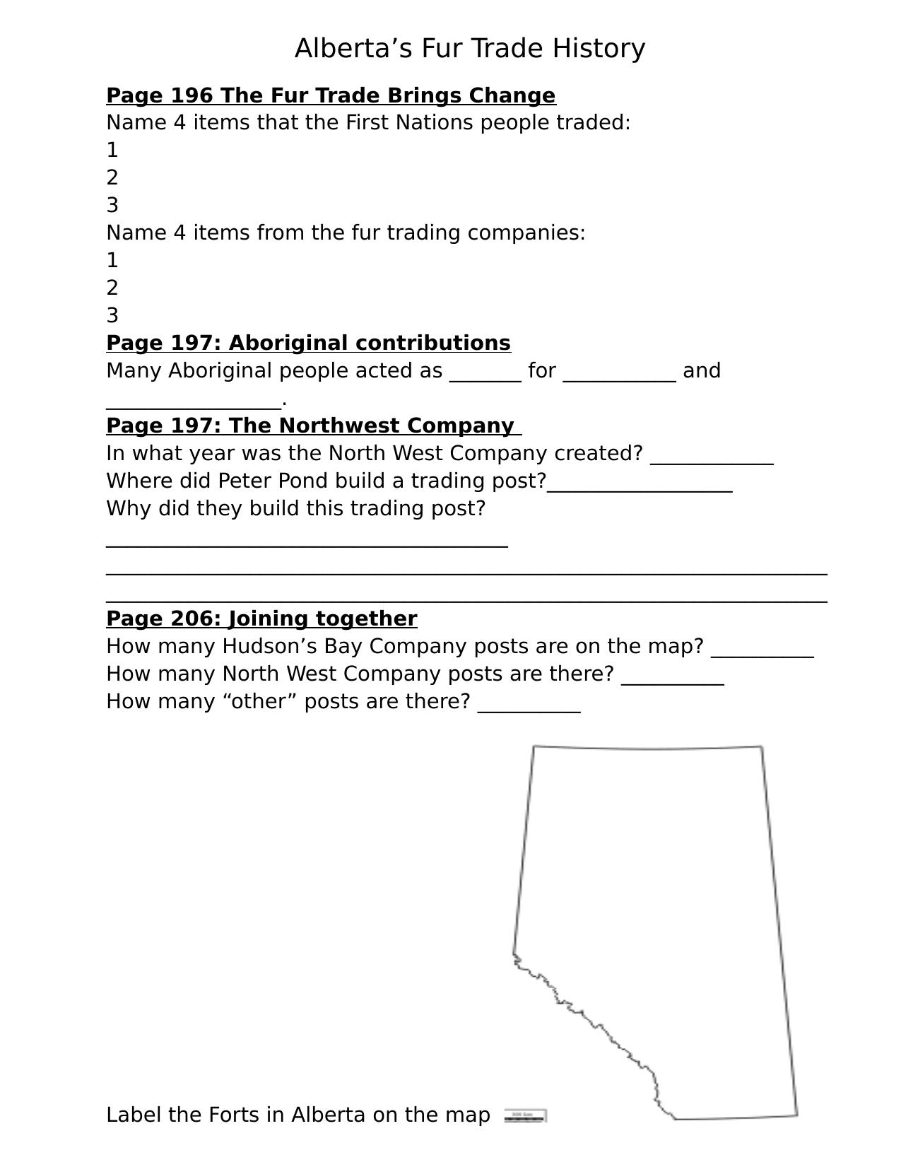 Our Alberta Textbook Fur Trade Resource Preview   Social studies [ 1651 x 1275 Pixel ]