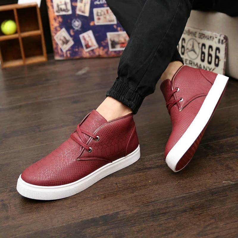 Popular Design Snakeskin High Top Mens Shoes New Fashion Flatform Designer Sapatos Black Dark Blue Wine Red