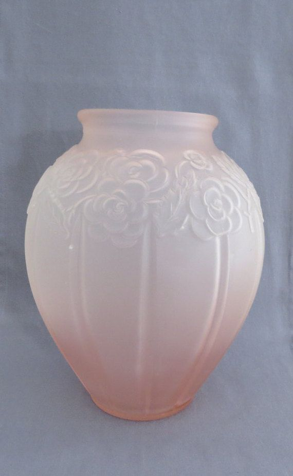 Vintage Large Pretty Pink Frosted Glass Vase With Embossed Rose