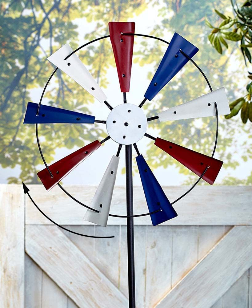 Patriotic Garden Spinner Metal Oversized Americana Windmill Red White Blue