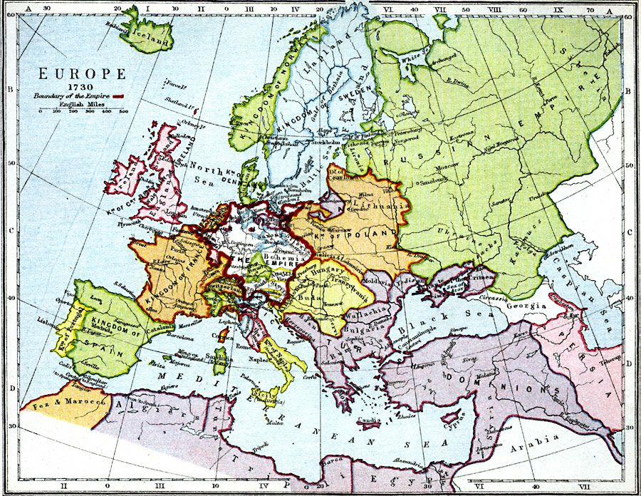 Europe 1730 Europe Map Map Historical Maps